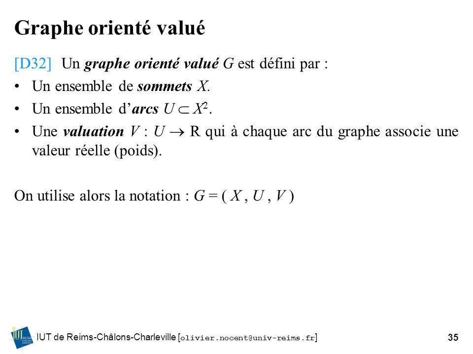Graphe orienté valué [D32] Un graphe orienté valué G est défini par :